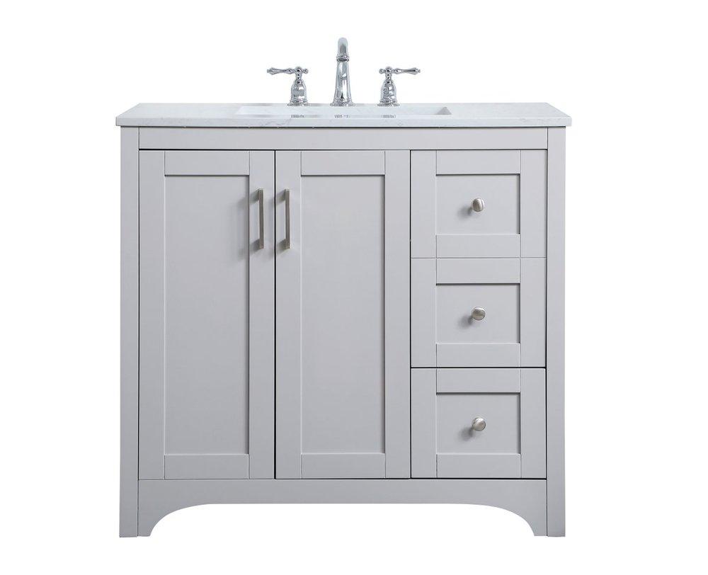 36 Inch Single Bathroom Vanity In Grey Vf17036gr Light Buys