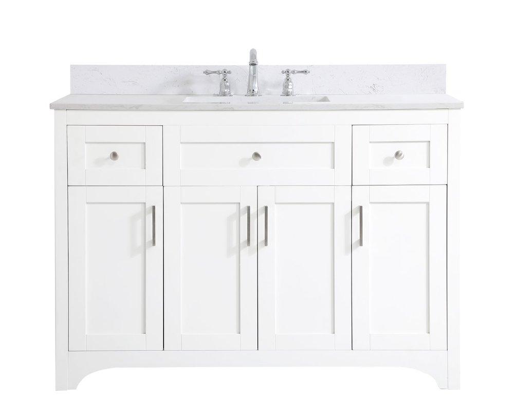48 Inch Single Bathroom Vanity In White With Backsplash Vf17048wh Bs Light Buys