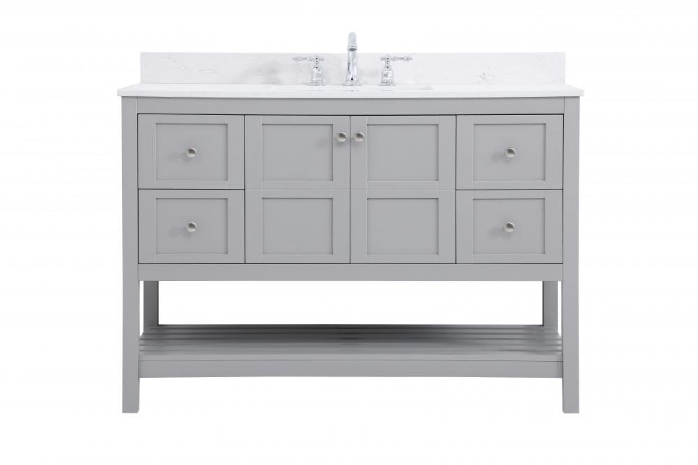48 Inch Single Bathroom Vanity In Gray With Backsplash Vf16448gr Bs Light Buys