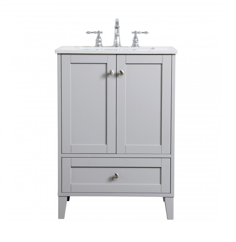 24 Inch Single Bathroom Vanity In Grey Vf18024gr Light Buys
